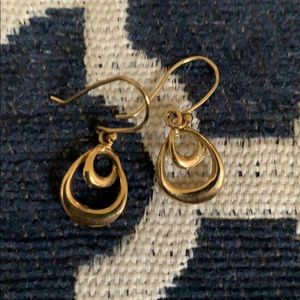 Gold plated sterling silver simple drop earrings